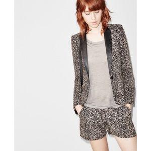 "The Kooples Jackets & Coats - THE KOOPLES ""Baby Leopard"" Leather Lapel Blazer"
